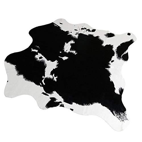 RCMeet Kuhfell-Teppich Rutschfester Kunstfell Teppich, 140 x 160 cm Faux Rindsleder Drucken Mat für Wohnzimmer Schlafzimmer Büro Stuhl Sofa (Kuh-Schwarz, 140x160cm)