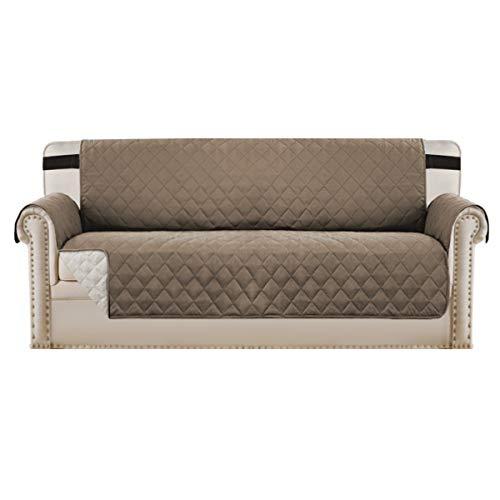 BellaHills Sofabezüge Sofabezüge Reversible Gesteppte Möbelschutzfolie, wasserabweisend, verbesserter Couch Shield mit elastischen Riemen, Anti-Rutsch-Schaum, Micro-Stoff-Pet-Cover-Sofa, Taupe/beige