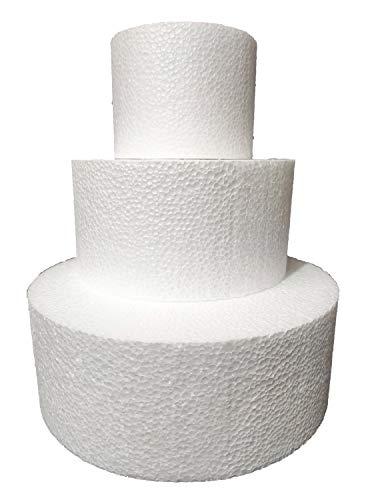 Juego de 3 pisos de poliestireno, disco redondo, diámetro 10 – 15 – 20 cm, altura 7,5 cm, para tartas falsas, cumpleaños, bautizos, nacimientos, comuniones, fiestas en género