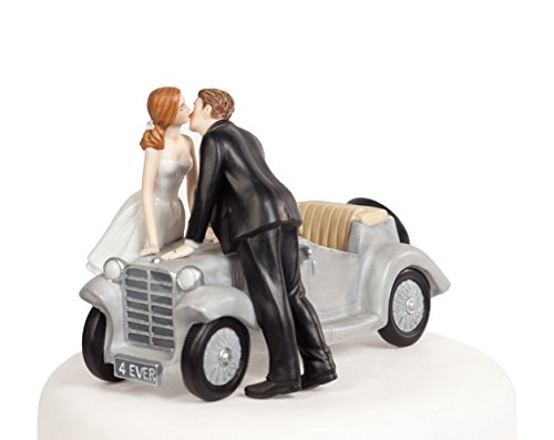 "Wedding Collectibles ""I'll Love U 4 EVER"" Car Wedding Cake Topper"