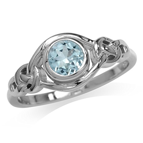 Silvershake 1ct. Genuine Blue Topaz White Gold Plated 925 Sterling Silver Celtic Knot Ring Size 8