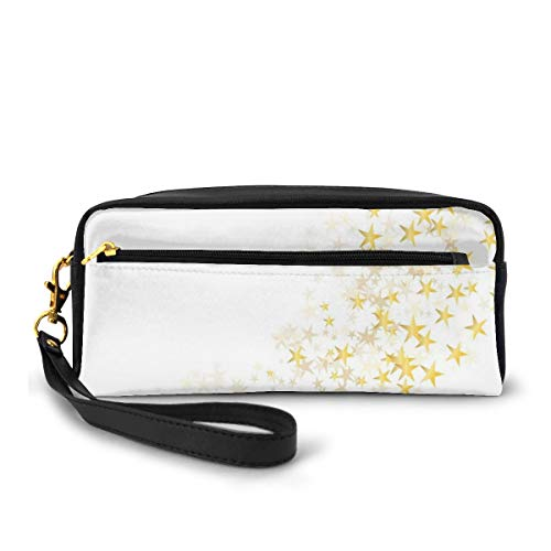 Pencil Case Pen Bag Pouch Stationary,Yellow Stars Flowing Over The White Backdrop Magic Galaxy Celebration,Small Makeup Bag Coin Purse