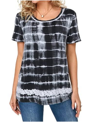 Camisetas de Mujer Tops de Verano Casuales Blusa de Mujer Camisetas de Manga Corta Camisetas Camiseta Suelta Tops de Verano Blusas Túnica Camiseta Suelta con Estampado de Encaje de Mujer