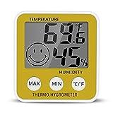 Gellvann Digital LCD Termómetro de Medidor de Humedad Interior Termómetro de Higrómetro Digital Termómetro de Habitación con Stander & Refrigerador Imán de Montaje para Humidificadores Deshumidificadores Invernadero Sótano Babyroom (Amarillo)