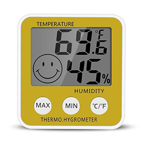 Gellvann Numérique LCD Humidité Intérieure Mètre Thermomètre Numérique Hygromètre Thermomètre Chambre Thermomètre avec Stander & Réfrigérateur Mount Aimant pour Humidificateurs Déshumidificateurs Serre Sous-sol Babyroom (Jaune)