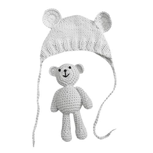 FeiliandaJJ Neugeborene Hut Stretch Stricken Foto Baby Hut + Teddybär Kostüm Fotografie Requisiten (Weiß)