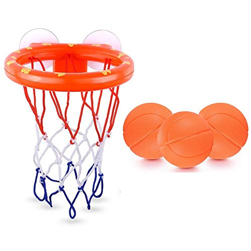 Taohou Bath Toys Basketball Hoop and 3 Balls Playset for Toddlers Kids with Sucker Orange