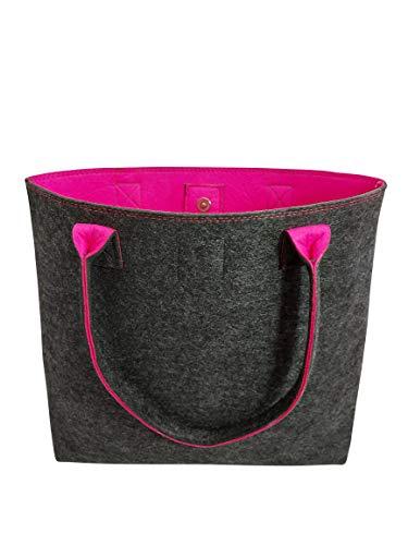Tebewo Shopping-Bag aus Filz, große verschließbare Einkaufs-Tasche mit Henkel, Einkaufskorb, Handtasche groß, Schultertasche, vielseitige Tragetasche, Farbe grau (grau/Magenta)
