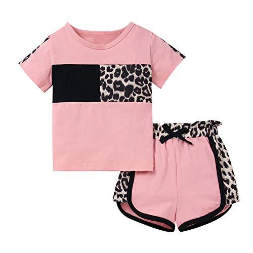 Borlai Set di abbigliamento per bambina e bambina Set completo di abiti estivi a maniche corte Leopard Top + Pant (2-3 anni, Rosa)
