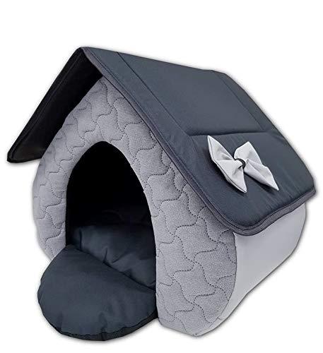 Odolplusz Hundehütte Hundehaus Stoff für innen Wohnung Indoor Katzenhaus Hundekörbchen Kuschelhöhle Katzenhöhle beige braun aus hochwertiger Baumwolle mit Wendekissen (Grau+Graphit)