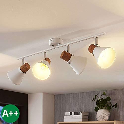 Lampenwelt Strahler 'Silva' dimmbar (Skandinavisch) in Weiß aus Metall u.a. für Wohnzimmer & Esszimmer (4 flammig, E14, A++) - Deckenlampe, Deckenleuchte, Lampe, Spot, Wohnzimmerlampe