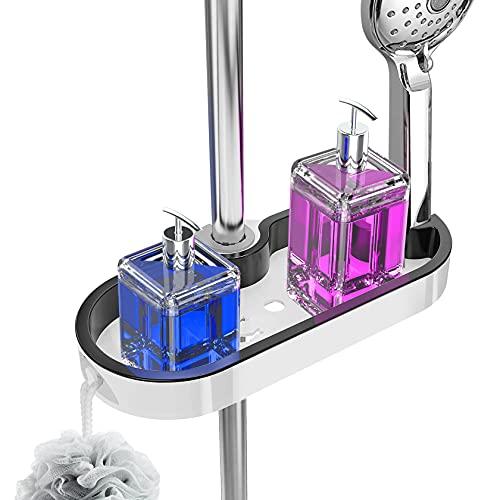 Yosemy Duschablage ohne Bohren, Duschablage zum Hängen, Höhenverstellbares Duschregal für Shampoo, Duschgel, für Brausestangen mit den Durchmessern 22, 24, 25 mm, ABS-Kunststoff(Weiß+Schwarz)