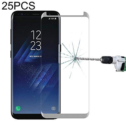 Película de vidrio templado para teléfono móvil 25 PCS para la galaxia S8 Plus / G955 0.26mm 9H Dureza superficial 3D Screen Edge pegamento no completa a prueba de explosiones curvada Caso amistoso vi
