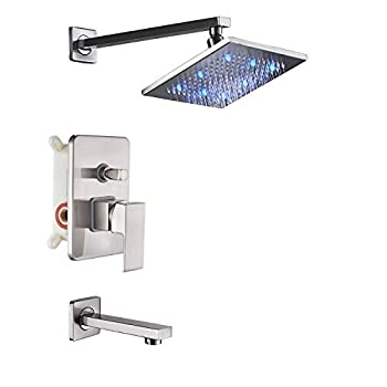 Rozin Bath LED light 8-inch Top Rainfall Shower Set with Tub Spout Tap Brushed Nickel