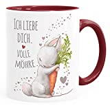 Moonworks® Taza de café con texto en alemán 'Ich liebe dich voller Möhre Rabbit mit Zanahoria, regalo Amor declaración de amor, interior de cerámica, color burdeos