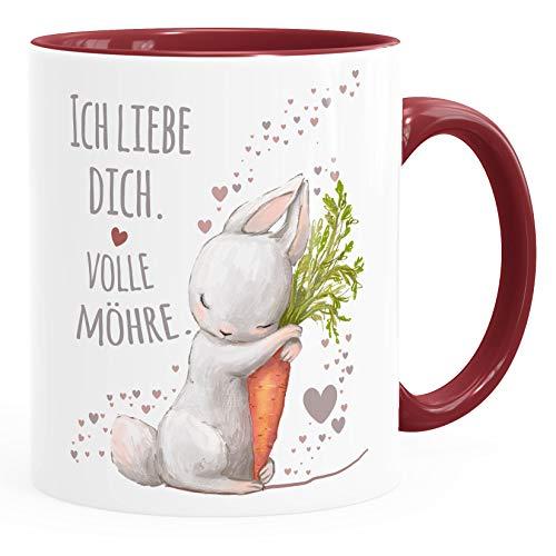 Moonworks® Kaffee-Tasse Ich liebe dich volle Möhre Hase mit Karotte Geschenk Liebe Liebeserklärung inner-bordeaux Keramik-Tasse