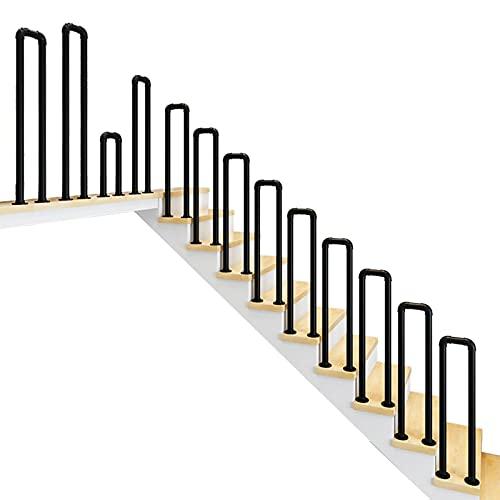 JEVCTCN Pasamanos industriales de Hierro Forjado para Interiores al Aire Libre, barandas de Escalera en Forma de U, pasamanos para Pasos de concreto/Madera, Negro Mate (Size : 3.1ft/95cm)