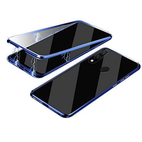 Jonwelsy Funda para Samsung Galaxy A40, 360 Grados Delantera y Trasera de Transparente Vidrio Templado Case Cover, Fuerte Tecnología de Adsorción Magnética Metal Bumper Cubierta para A40 (Azul)