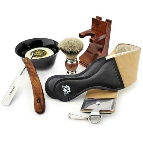 Cut Throat Razor Kit for Men - Professional Barber Straight Razor for Shaving with Silvertips Badger Brush, Shavings Bowl, Soap, Leather Strop and Brush Stand - 6 Pieces Wooden Shaving Set