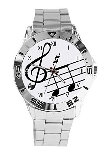 Reloj de pulsera analógico de cuarzo para hombre con diseño de clave de sol y...