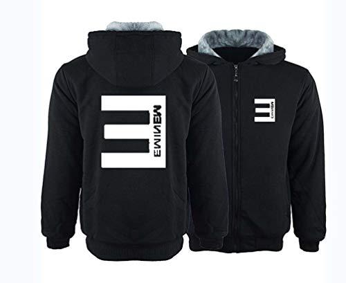 LJXJ Eminem Chaqueta Gruesa y cálida Ropa Casual de algodón para Hombres Chaqueta de Invierno suéter con Capucha,8,XL