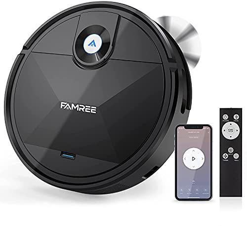 Famree MT-200 Robot Vacuum Cleaner, 1800Pa Strong Suction WiFi/App Self-Charging Robotic Vacuums Quiet Mini Vacuum for Hard Floor, Low/Medium-Pile Carpets