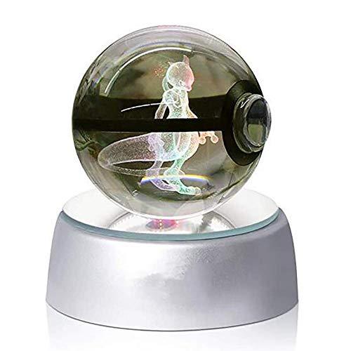 3D Kristall-Ball, LED-Nachtlicht für zum Beispiel Kinder oder als Geschenk, große Kristallkugel mit automatischer Farbveränderung