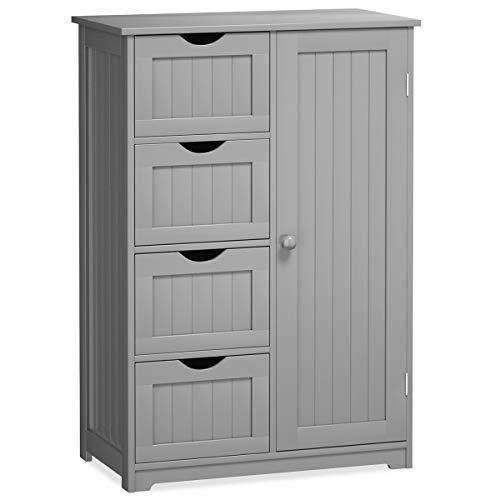 Giantex Bathroom Floor Cabinet Wooden with 1 Door & 4 Drawer, Free Standing Wooden Entryway Cupboard Spacesaver Cabinet, Gray