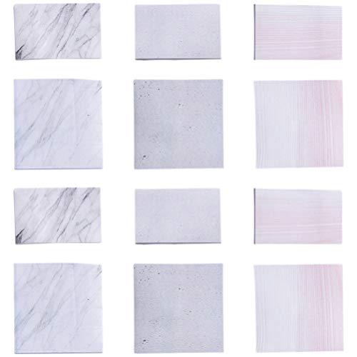 NUOBESTY 12 piezas de notas adhesivas de mármol de papel autoadhesivo para notas adhesivas de estudiante que se pega a la escuela, oficina, hogar papelería