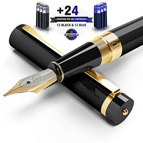 Dryden Designs Luxury Fountain Pen Intense Black with Ink Cartridges [12 Black & 12 Blue] and Ink Refill Converter - Smooth & Elegant, Perfect Gift Set, Smooth Metallic Finish