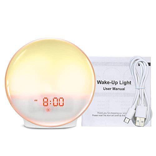 TEHWDE Wake Up Light Snooze LED natuur nachtlampje digitaal alarm klok Sunrise kleurrijk licht met natuurlijke geluiden FM-radio met USB-kabel