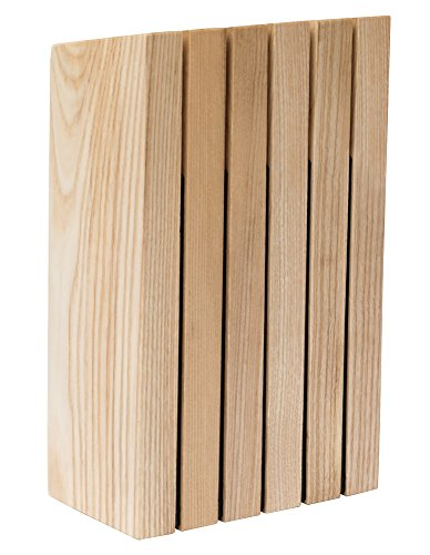 Berghoff Ron Messerblock, Eschenholz, abgewinkelt, Beige, 15 x 8,5 x 26 cm