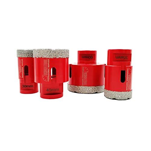 SHDIATOOL Trockene Diamant-bohrkronen Set Vakuumgelötete Bohrungen Porzellan Fliesen Granit Marmor(Durchmesser 30/35/45/60mm)