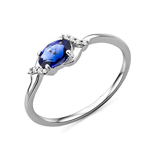 Miore Ring Damen Weißgold 9 Karat / 375 Gold Solitär Saphir Diamant Brillianten 0.03 ct