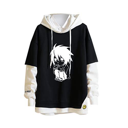 Death Note L Hoodie, Cosplay-Kostüm, Sweatshirt, Denim-Truckerjacke, Löcher, Pullover für Damen und Herren Gr. S, B3