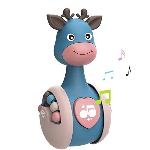 PHLPS Baby Toys Tumbler Doll Cartoon Giraffe Tumbler Doll Early Education 3+Months Baby Swing Reindeer Baby Toys Built-in Bell Toy (Color : Blue)