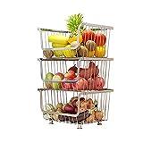 Cestas de frutas y verduras de 3 niveles con ruedas, cestas de almacenamiento de metal, estante extraíble, perfecto para cocina, frutas, verduras, artículos de tocador, almacenamiento de baño
