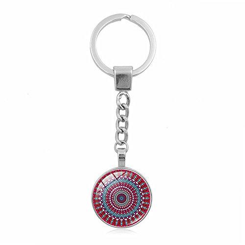 UmerBee - Llavero con diseño floral de mandala (1 pieza, llavero con gemas de tiempo, llavero con soporte para llaves)