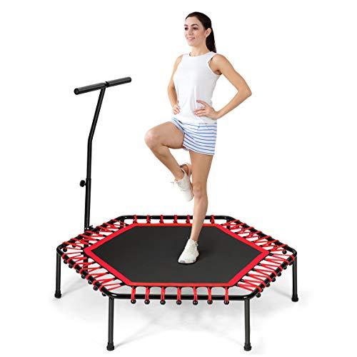 COSTWAY Fitness Trampolin mit höhenverstellbarm Haltegriff, Mini Trampolin bis 150kg belastbar, Kindertrampolin Gartentrampolin für Erwachsene und Kinder (Rot)