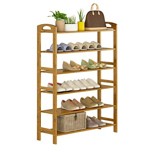 ZZYE Zapatero de 6 niveles, estante de almacenamiento vertical, bambú natural, 18 pares de zapatos, 60 x 26 x 108 cm (ancho x profundidad x altura) organizador de zapatos