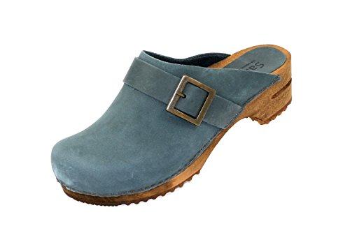 Sanita Urban offener Clog | Original handgemacht | Leder-Holzclogs für Damen | Blau | 37 EU