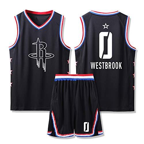 LSJ-ZZ Uomo Jersey NBA Houston Rockets # 0 Westbrook Maniche Ricamato Uniforme di Basket Completo, Traspiranti/Pantaloncini Rapida Asciugatura Top in Jersey Comprese,L:160~165cm