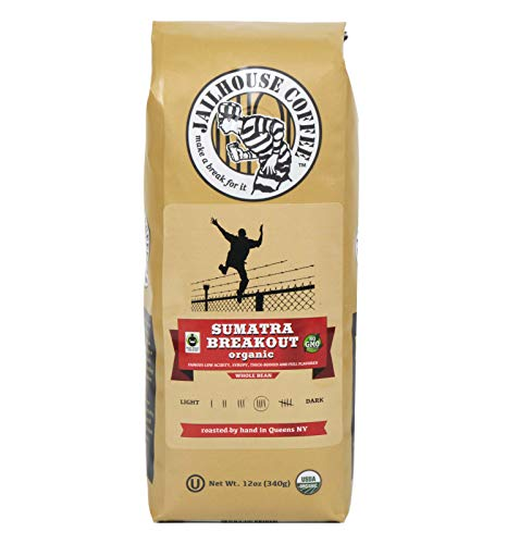 Jailhouse Coffee - Sumatra Breakout Blend, Premium Medium Roast, Whole Bean (12 oz.) - Smooth Notes of Syrupy, Earthy Richness - Organic, Non-GMO, Kosher - Percolator, Drip, French-press, or Cold Brew
