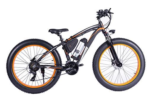 H&J Elektrisches Mountainbike 26 Zoll Zebrastreifen Aluminiumrahmen 7 Geschwindigkeit Roller mechanische Scheibenbremse (36V 250W) Lithiumbatterie mit LED/Geschwindigkeit bis zu 30KM