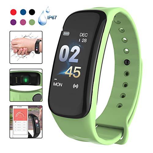 HWUKONG Fitness Tracker, Smart Uhr Activity Tracker Bluetooth IP67 Wasserdichter Pedometer Armband, Sport-Uhr-Test Herzfrequenz-Blutdruckmessung,Grün