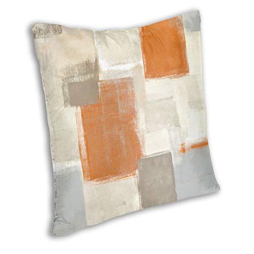 Zanghyu Funda de cojín de color beige y naranja, estilo abstracto para sofá, tamaño 60 x 60 cm