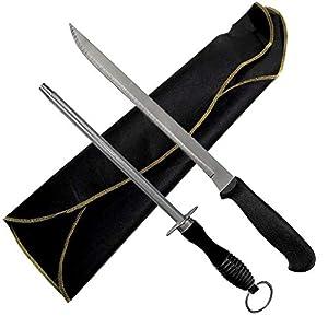 Cubre Jamon Negro - Cuchillo Jamonero de Corte y Afilador Chaira - Elegante - Economico