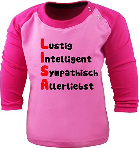 Baby/Kinder Baseball Langarm T-Shirt (Farbe: rosa-pink) (Gr. 76/86) mit Namen und Eigenschaften des Kindes