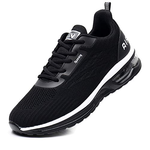 Axcone Womens Tennis Shoes for Athletic Running Walking Gym Casual Breathable Workout Sport Nurse Fitness Jogging Lightweight Air Cushion Stylish Fashion Sneakers Black39