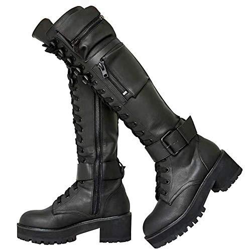MEILIYA Military Knee High Boots for Women, Side Zipper Hidden Pocket Low Chunky Heel Platform Combat Boots